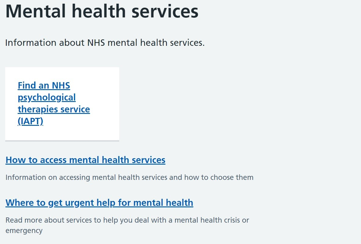 Screenshot of NHS mental health services webpage