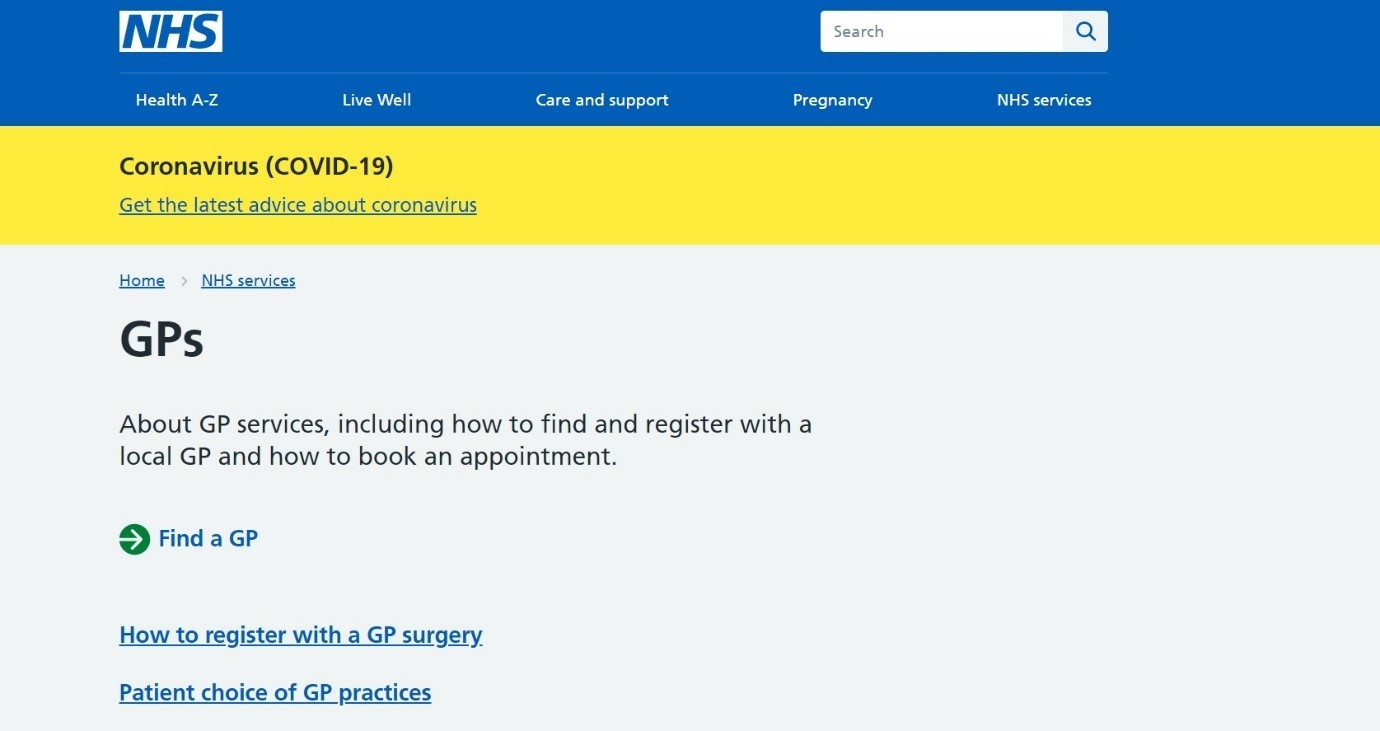 Screenshot from NHS website for GP services