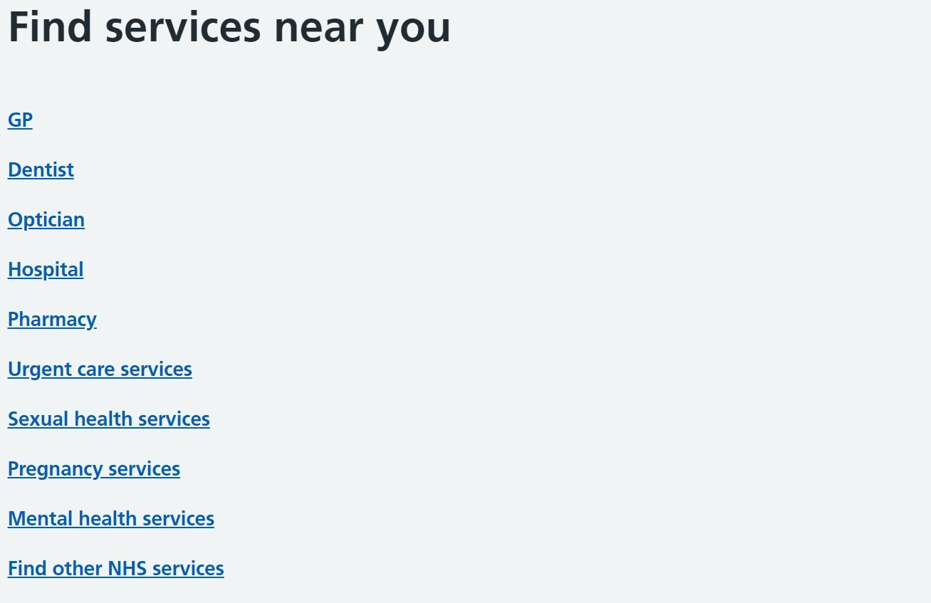 List of NHS Services