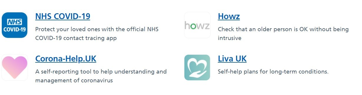 Screenshot of app icons in NHS Apps Library